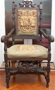 Sale 8590A - Lot 70 - A Henry II style tapestry upholstered hall chair, H of back 125cm, seat needs attention