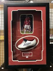 Sale 8805A - Lot 888 - Wayne Rooney Signed Boot, framed