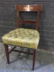 Sale 8976 - Lot 1065 - Good Set of 12 George III Mahogany Dining Chairs, the bar backs inlaid with oval satinwood panels, upholstered in buttoned faded gre...