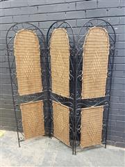Sale 9034 - Lot 1030 - Metal and Wicker 3 panel Screen (h:173cm)