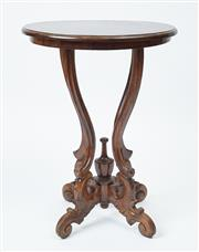 Sale 9080J - Lot 36 - Another circular vintage mahogany lamp table raised on 4 shaped supports above 4 scrolling legs with knurled terminals, to match the...