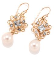 Sale 9095 - Lot 377 - A PAIR OF EDWARDIAN STYLE PEARL AND TOPAZ DROP EARRINGS; filigree mounts each set with a square and 4 round cut blue topaz suspendin...