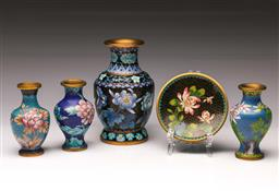 Sale 9110 - Lot 361 - Small Collection of Cloisonne inc Vases (H Tallest 15.5cm) and Dish