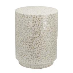 Sale 9140F - Lot 141 - A clean round accent stool with Capiz accenting along its white frame. The cylindrical form has a geometric aesthetic. Dimensions: W...