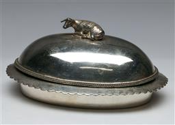 Sale 9144 - Lot 211 - An Edwardian butter dish with cow finial together with cruet set (L:18cm)