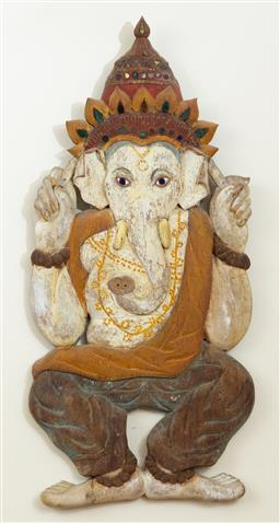 Sale 9164H - Lot 68 - A Thai folk style timber polychrome Ganesh with glass inlay, Height 77cm x Width 34cm