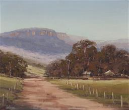 Sale 9170 - Lot 596 - JOHN PERKINS Country Road and Distant View of Mountains oil on board 43 x 50 cm (frame: 56 x 64 x 5 cm) signed lower left