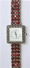 Sale 7652 - Lot 51 - A SILVER GARNET WATCH QUARTZ WATCH;