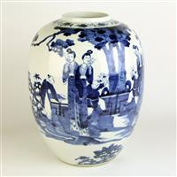 Sale 8392H - Lot 55 - A blue and white Chinese vase of ovoid form decorated with Geishas in traditional landscape, height 34cm