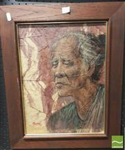 Sale 8413T - Lot 2041 - Framed Mixed Media Artwork of an Elder, signed Matree 1977 and another (2)