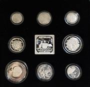 Sale 8465J - Lot 301 - 1991 MASTERPIECES IN SILVER 25TH ANNIVERSARY OF DECIMAL CURRENCY; $2, $1, 50c, 20c, 10c, 5c, 2c, & 1c proof coin set in 925 silver...