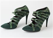 Sale 8550F - Lot 189 - A pair of Balenciaga green suede and snake skin leather heels, each with four buckles, 3.5 inch heel, size 39.