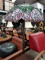 Sale 8580 - Lot 1048 - Leadlight Shade Standard Lamp with Flower Motif Shade