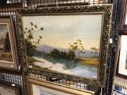 Sale 8861 - Lot 2046 - S. Nawson, River Scene with Distant Mountains 1958oil on board, 58 x 45.5cm, signed and dated lower right