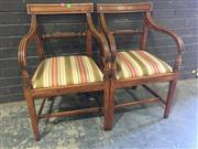 Sale 8976 - Lot 1009 - Pair of Provincial George III Elm Armchairs, with bar backs, striped drop-in seats & square legs with stretchers (H:85cm)