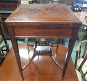 Sale 8993 - Lot 1046 - Edwardian Inlaid mahogany Envelope Top Card Table, with satinwood banding, a frieze drawer & tapering legs joined by a galleried she...