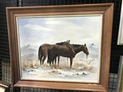 Sale 9033 - Lot 2035 - Maurice B, Two Horses, oil on canvas board, 52 x 62cm(frame), signed