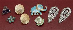 Sale 9098H - Lot 31 - A small group of costume jewellery including an elephant brooch, marcasite clips, buttons and enamelled badges.