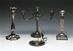 Sale 9144 - Lot 179 - A three-tier candelabrum together with two other candle sticks and a chamber-stick