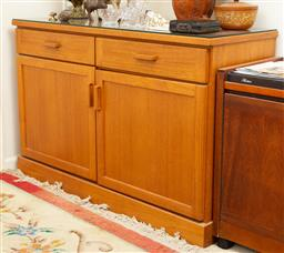 Sale 9164H - Lot 83 - A teak two door two drawer sideboard with associated glass top, Height 80cm x Width 120cm x Depth 45cm
