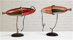 Sale 9188 - Lot 1106 - Pair of vintage brass & anodised zeppelin form table lamps (h48cm)