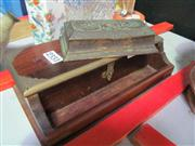 Sale 8047 - Lot 82 - A Wooden Desk Box and a Japanese Brass Stamp Holder Box