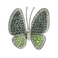Sale 8221A - Lot 121 - 18ct White Gold Butterfly Brooch; featuring sixty-five round brilliant cut diamonds, with ninety-eight round brilliant cut treated b...