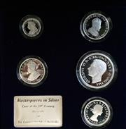 Sale 8465J - Lot 307 - 2000 MASTERPIECES IN SILVER COINS OF THE 20TH CENTURY, MONARCHS; $2, 50c, 3 x 20c, & plaque proof coin set in 99.9% silver in boxe...