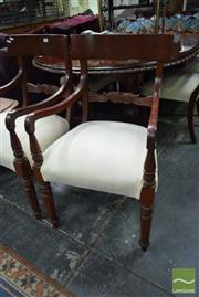 Sale 8523 - Lot 1079 - Set of Eight Timber Paddle Back Dining Chairs incl. Two Carvers