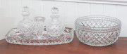 Sale 8677B - Lot 918 - Sundry cut glass wares including dressing table set and cut glass bowl