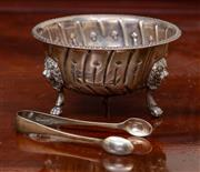 Sale 8882H - Lot 38 - A Georgian style sterling silver sugar bowl with fluted body, London, maker D&jJ Wellby ltd together with a pair of associated sugar...