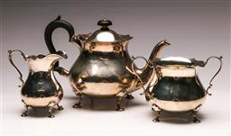Sale 9122 - Lot 188 - Early 20th Century Hallmarked Sterling Silver Three Piece Tea Suite, Sheffield c1918 By WH & Co (Wt1.12kg)