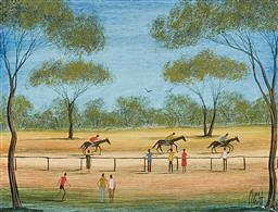 Sale 9133 - Lot 581 - Kym Hart (1965 - ) Country Races oil on board 19 x 24.5 cm (frame: 52 x 62 x 3 cm) signed lower right