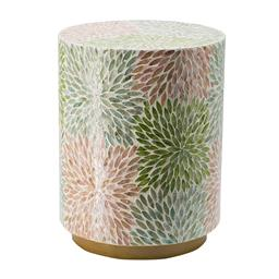 Sale 9140F - Lot 143 - A simple cylindrical stool with a gold base and a multi-coloured, pearlescent body. Dimensions: W35 x D35 x H45 cm