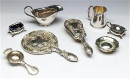 Sale 9144 - Lot 172 - A Silverplate vanity set together with other wares including Christening cup