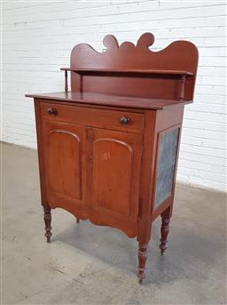 Sale 9162 - Lot 1069 - Late 19th Century cedar chiffonier & meat safe, the scrolled back with shelf, above a long drawer, two arched panel doors, pierced m...