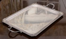 Sale 9195H - Lot 40 - A heavy gauge hallmarked sterling silver Hardy Brothers, Sheffield 1937, two handled tray with shell and beaded border decoration, W...