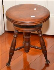 Sale 7997 - Lot 81 - CEDAR ADJUSTABLE PIANO STOOL WITH CLAWED FEET