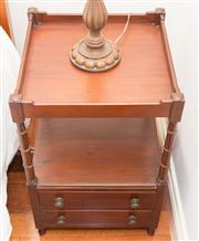 Sale 8308A - Lot 226 - A Georgian style two tier timber bedside with faux cane pillars and two drawers to base, 67 x 41 x 41cm
