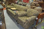 Sale 8331 - Lot 1095 - 3 Piece Lounge Setting inc 3 Seater & 2 Armchairs in Gold fabric