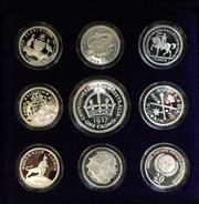 Sale 8465J - Lot 319 - 1998 MASTERPIECES IN SILVER COINS OF THE 20TH CENTURY, MILESTONES; 8 x 20c/ Florins, & 1 x 50c/ one crown proof coin set in 99.9%...