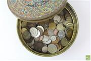 Sale 8529 - Lot 104 - Large Collection of World Coins inc Australian Pennies, USA Half Dollar and others in Brass Tin