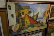 Sale 8537 - Lot 2062 - Boucher, Village Canal, oil on canvas (AF), 61 x 91cm, signed lower right