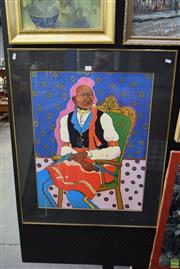 Sale 8569 - Lot 2033 - Decorative Picture of a Native American Indian, frame 89 x 73cm