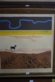 Sale 8578T - Lot 2010 - Lawrence Daws - Incident at Anakie V , 1965, serigraph ed.28/50 (AF), 40.5 x 40.5cm, signed and dated lower right