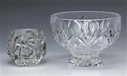 Sale 9098 - Lot 114 - A Waterford Marquis Caprice Bowl Together With A Tiffany Crystal Candle Holder H: 7cm