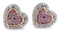 Sale 9145 - Lot 338 - A PAIR OF DIAMOND AND GEMSTONE STUD EARRINGS; each a 10 x 9.5mm heart shape cluster pave set with amethysts to surround of 10 single...