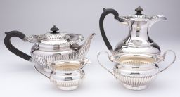 Sale 9150J - Lot 29 - Excellent quality Hardy Brothers silverplate 4 piece tea and coffee service with half fluted decoration to the body of each piece C:...
