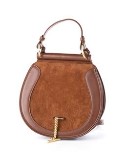 Sale 9221 - Lot 395 - A SANCIA BABYLON LEATHER AND SUEDE FOB BAG; brown full grain leather saddle shape with brown suede front flap to gold tone fob and c...