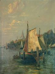 Sale 8000 - Lot 153 - Louise J. Guyot (French, 1869 - 1927) - Untitled (Harbour Scene) oil on canvas